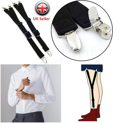 Mens Y Style Shirt Stays Socks Garters Suspender Adjustable Elastic Band cckk