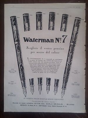 "Pubblicità Penna ""Waterman Ideal n.7 ""advertising reclame 1929"