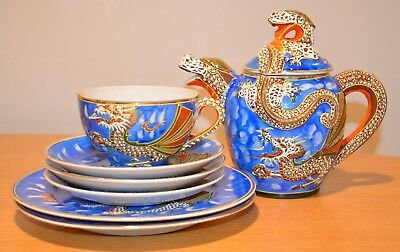 Antique KUTANI Dragonware 1 Teapot/1 Cup/3 Saucers/2 Plates - Made in Japan