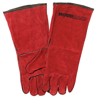 Bossweld RED LEFTIES WELDING GLOVES 40cm 1Pair Heavy Duty Gauntlet *Aust Brand