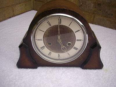 Vintage Smiths Enfield Wooden striking Mantle Clock.