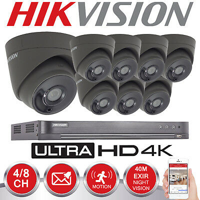 Hikvision 5Mp Cctv System Uhd 4K Dvr 4Ch 8Ch 40M Ir Night Vision Grey Camera Kit
