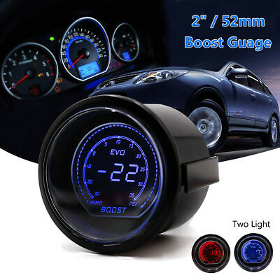 2'' 52mm 12V Waterproof PSI Turbo Boost Car Gauge Meter Red & Blue LED Display
