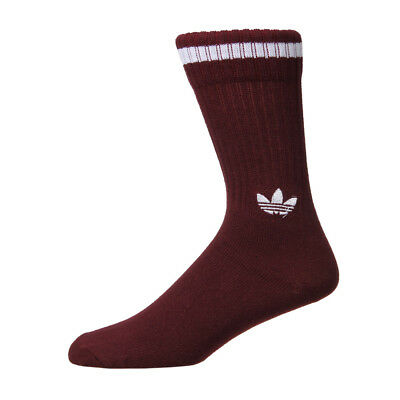 New Mens adidas  Solid Crew Two Pack Sock - Maroon/White