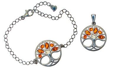 Sterling Silver Tree of Life Pendant Bracelet Natural Amber Jewellery Jewelry