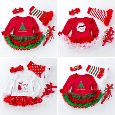 4pcs Newborn Baby Infant Clothes Dress Girl Xmas Christmas Outfit Tutu Romper
