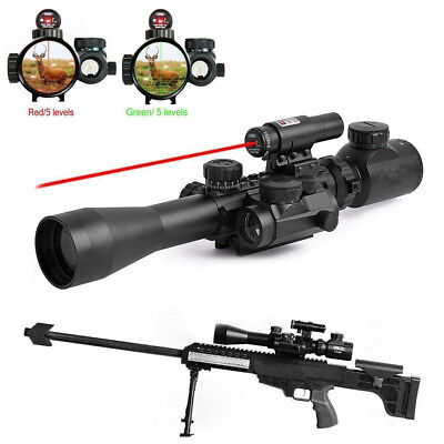 3-9x40 EG Rifle Scope w/ Red Laser Sight + Holographic Red Sight for Hunting