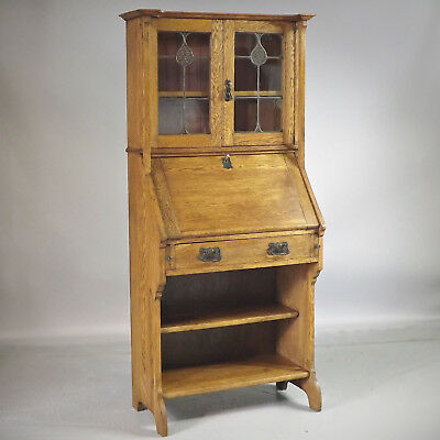 Bureau Bookcase - Arts & Crafts - Oak - Stained Glass (delivery available)