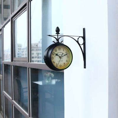 Outdoor Garden wall Clock Station & Temperature with Bracket, swivels 25cm