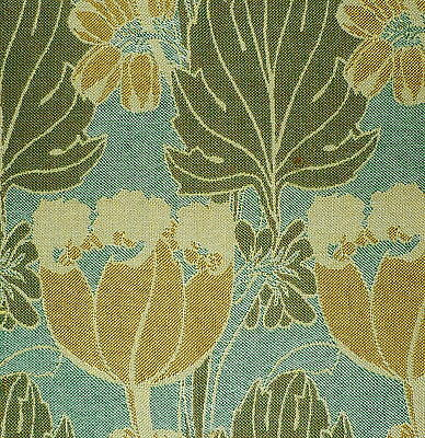 CLARENCE HOUSE Butterfield Wool Woven England Mustard Green Floral Remnant New