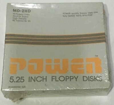 2x Vintage Sealed 10 Pack Power 5.25 Floppy Discs MD-2HD