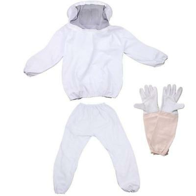 Professional Beekeeping Suit Jacket with Pants and Goat Skin Long Sleeve Gloves