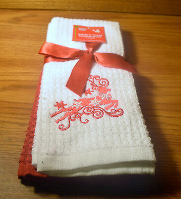 """Set of 2 Christmas Kitchen Reindeer Towels Embroidered 14 x 24"""" NEW"""