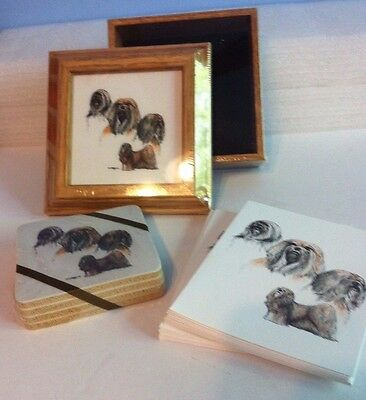 Lhasa Apso Collectible Dog Framed Picture on Trinket Box Coasters & Note Cards