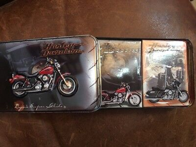 harley davidson 2decks playing cards in tin never been used