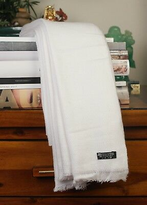 White Cashmere Throws Blankets Winter Warm Travel Throws - Clearance Sale