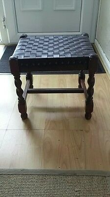 Solid Oak Stool with Leather Lattice Work Top