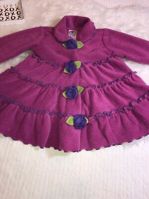 Girl's Mulberribush Plum Fleece W/Purple Trim With Rosettes Coat Sz3T EUC!