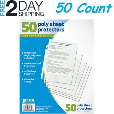 Sheet Page Protectors Office Clear Plastic Document Binder Photo Sleeves Open A4
