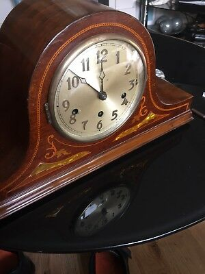 Mahogany Mantle Clock German Movement Westminster Chimes Arabic Numerals