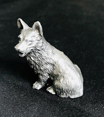 Solid Pewter Silver Corgi Dog Puppy Highly Detailed Figurine Statue