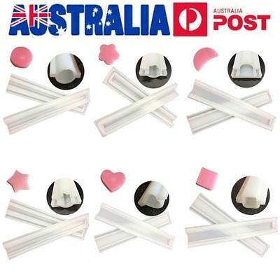 DIY Silicone Soap Mould Flower Star Heart Round Shape Cake Candle Jelly Mold AU