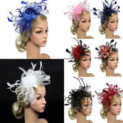 US Women Wedding Party Feather Pearl Mesh Fascinator Hat Hair Clip Accessories
