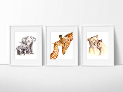 Jungle Animals Nursery Wall Decor Prints, Color or Black and white