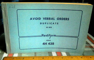 VINTAGE BUSINESS pad trying to stop VERBAL ORDERS*DUPLICATe carbon paper-50 sets