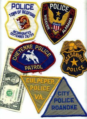 (6) OBSOLETE Old Vintage POLICE COTTON TWILL PATCHES