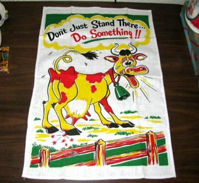 Vintage Linen Cow Cartoon Humor Kitchen Tea Towel Never Used Nice