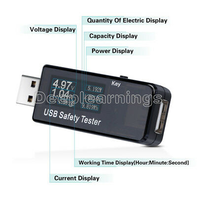 USB LCD Display Voltmeter Ammeter Voltage Current Power Capacity Detector Tester