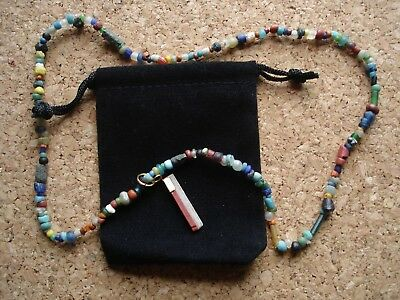 Ancient Romano-Egyptian Glass Bead Necklace with Mosaic Glass Pendant
