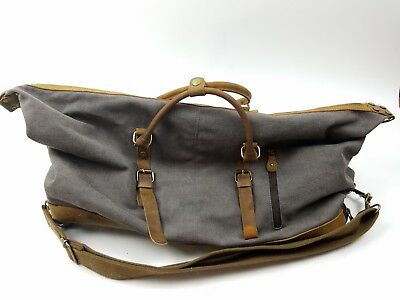 bfd3a4e706 Kattee Luggage Rolling Duffel Bag Leather Trim Canvas Wheeled Travel Bag