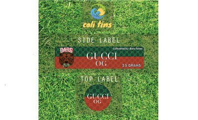 10x Gucci OG 60ml Cali Tin JAR labels