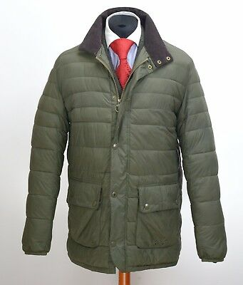 Mens Barbour Quilted Jacket Olive Zip Size L