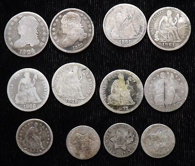 Lot of 12   Pre 1892  United States Silver Type Coins   Low Grade