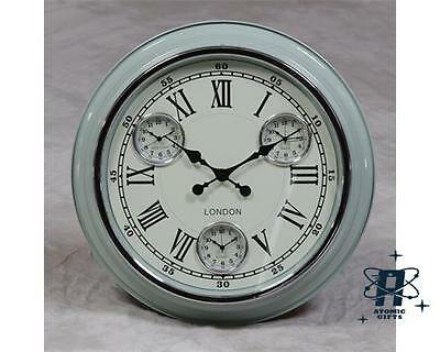 Retro Vintage Style London Metal Multi Dial Wall Clock Blue White Face Et236