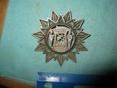 Egyptian Revival Starburst Pendant Brooch Pin