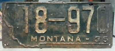 1935 Montana license plate tag NO RESERVE!!