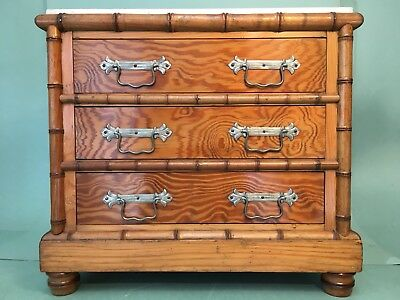 Antique Faux Bamboo Miniature Chest Of Drawers Dolls Furniture