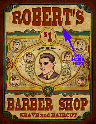 Beautiful Personalized Barber Shop & Shave Sign Ready To Frame Very Cool *p37
