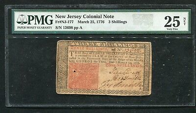 NJ-177 MARCH 25, 1776 3s THREE SHILLINGS NEW JERSEY COLONIAL NOTE PMG VF-25