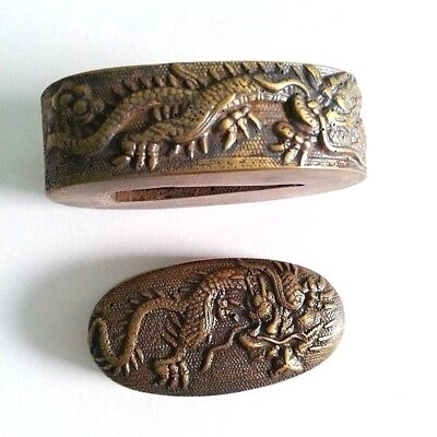 Fuchi Kashira Japanese Samurai Katana Sword Knives Parts Tsuba Dragon Edo Brass