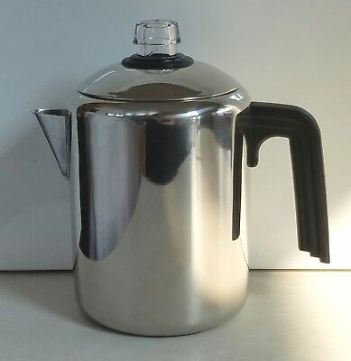 Vtg Farberware L7680 Stainless Steel Percolator 4-8 Cup Stovetop Coffee Pot Evc