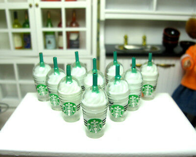 10 Dolls House Miniature Starbucks Ice Cream Coffee Cups Food Drink Vanilla 1/6