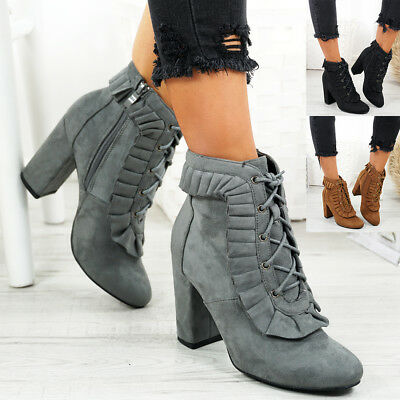 Ladies Womens Lace Up Zip Ankle Boots Mid High Block Heel Party Shoes Size