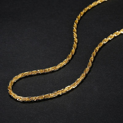 """Men Women 24K Real Solid Yellow Gold Filled Chain Necklace Jewellery 24""""x3mm"""