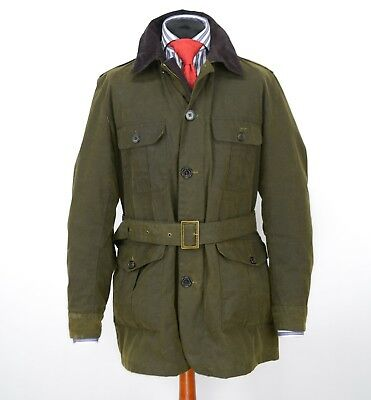 Mens Barbour New Field Belted Wax Jacket Green Size XL