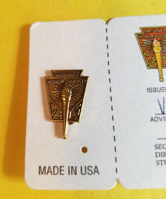 Vintage National Honor Society Lapel Pin High School Student with Card